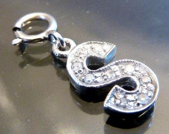 14K White Gold .20ctw Diamond Initial S Charm 14k necklace or bracelet