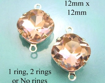 Peach Glass Beads, Cushion Cut, Octagon, Silver Settings, Brass Settings, 12mm x 12mm, Cabochon, Glass Gems, Rhinestone Jewels, One Pair
