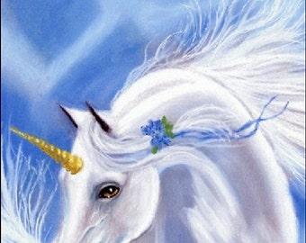 Art Print The Dream Unicorn, Blue Flowers -  by Patricia Ann Rizzo