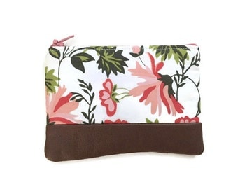 Apricot & Persimmon Cream Floral Leather Coin Purse, Zipper Pouch, Small Change Purse, Coin Pouch, Change Wallet, 144 Collection