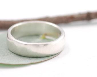 Simplicity Wedding Ring - Palladium Sterling Silver Wedding Band - 6mm - made to order wedding ring in recycled metal