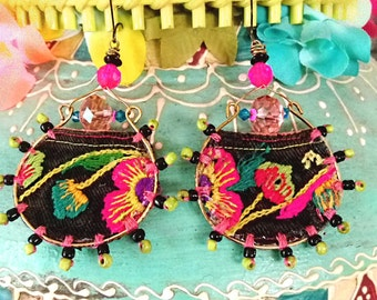 Tropical Flower Earrings, Vintage Embroidery,  Boho Earrings, Dangle Earrings, Tribal, Antique Embroidery, Large Earrings, Hoops, Beaded