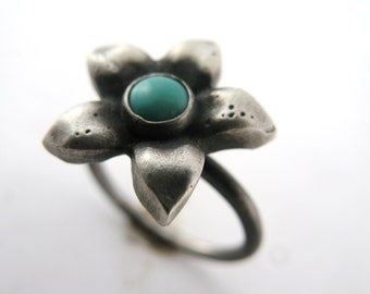 SUPER SALE! Flower Ring with Turquoise - Hand Cast in Sterling Silver OOAK