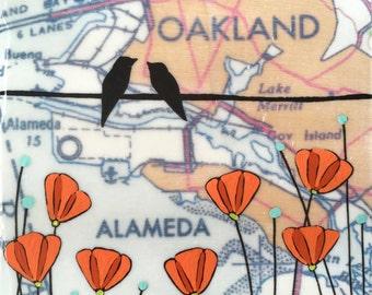Alameda / 5 x 5 Map Painting / California Art / Map Art / Modern Decor / Modern Flower Art / Bird Art / California Poppy