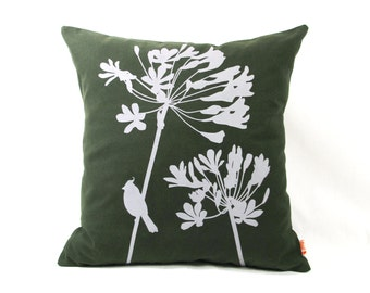 SALE - Grey Print on Dark Army Green Cardinal on Agapanthus  17 inches Square Pillow