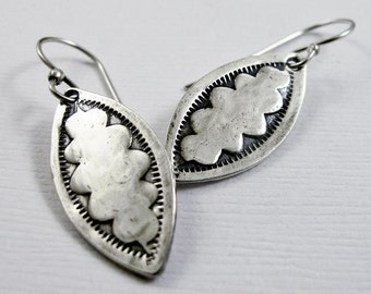 Scalloped Edge Drop Earrings - Navajo Stamped Dangle earrings - Recycled Sterling Silver