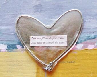 Little wire heart, ornament, handmade, vintage tissue paper, found words, Valentine