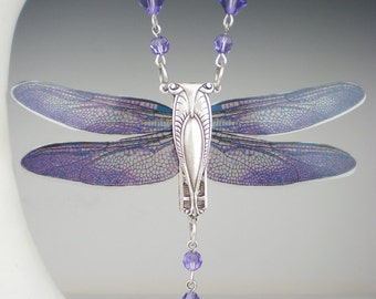 Violet Dragonfly Necklace Art Nouveau Vintage Inspired Dragonfly Jewelry