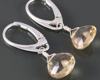 Champagne Quartz Earrings. Sterling Silver. Lever Back Ear Wires.