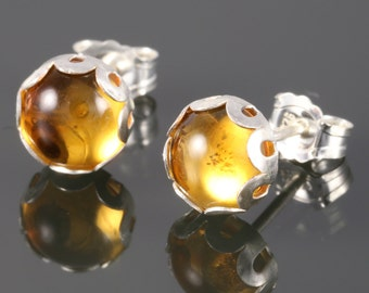 Golden Citrine Stud Earrings. Sterling Silver. Genuine Gemstone. November Birthstone. Bezel Setting. 6mm Round. f13e058