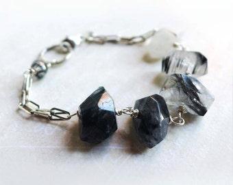Black Tourmalinated Quartz Bracelet, Ombre White Clear Gray to Black Gemstone Bracelet, Chunky Gemstone Bead Bracelet Black White Gray