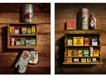 Set of 2 vintage spice cans art giclee prints, Kitchen art, wall decor, wall spice rack & spice tins, Americana, mid-century