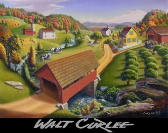 Original Oil Painting, Red Covered Bridge Rural Country Farm Folk Art Landscape, Appalachian Americana by Walt Curlee