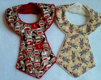 Set of 2 Baby Boy Sock Monkey Baby Bibs