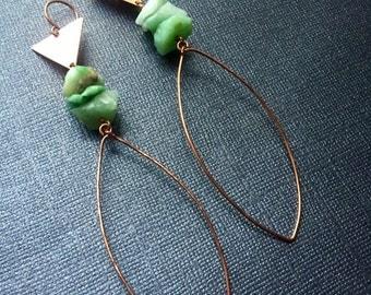 Green Chrysoprase Copper Hoop Earrings