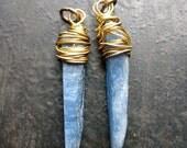 Blue Kyanite Shard Charms - 1 pair