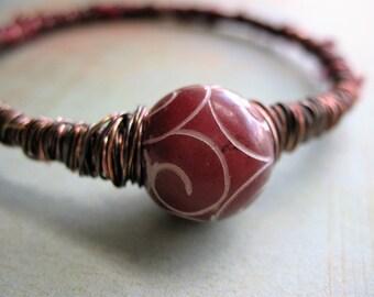 Burgundy Sari Silk Wrapped Bangle with Carved Jade Stone Focal