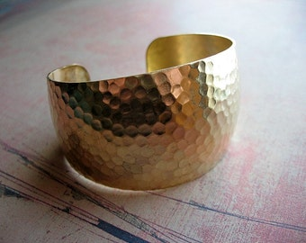 Hammered Texture Raw Brass Cuff - 1 - 1.5 inches