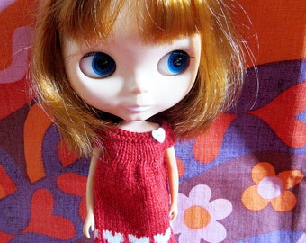 Odds & Ends SALE - Blythe:  Red smock dress with white hearts