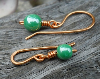 Removable Stitch Markers Small or Large For Knitting Or Crochet Green Luster Copper Wire Hook