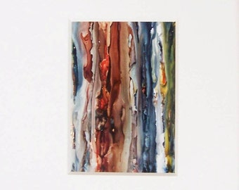 Contemporary art, splash art, modern art,  alcohol ink painting with white mat, original art, abstraction with 11x14 mat