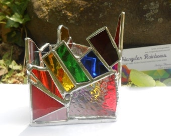 Miniature Edition #1 Triple Rainbow Triangle Shaped Rainbow Theme Stained Glass TEALIGHT Holder colorful home decor dorm office studio yoga