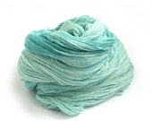Blue sparkly lace yarn, merino silk silver stellina sparkle laceweight yarn, hand dyed Perran Yarns Seafoam, variegated wool aquamarine