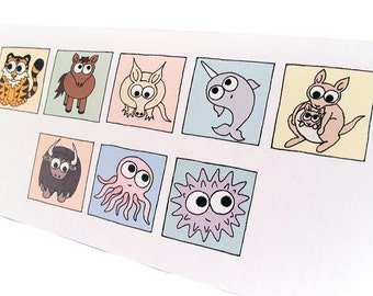 """Thank You Card - Cryptic Animals - long card with cute cartoon creatures spelling out the words """"thank you"""" - say it with animals"""
