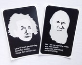 Darwin And Einstein Stickers with Inspirational and Funny Quotes - Vinyl Decal Science Stickers for Teachers with Minimalist Portraits