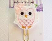 White Owl Planner Clip, Bookmark, Planner Accessory, Paper Clip