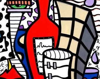 Abstract wine painting original Modern pop Art Contemporary Wine by Fidostudio