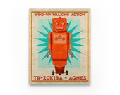 Kid Decor- Agnes Retro Robot Art Series Block- Art for Boys Room- Robot Nursery Art- Robot Nursery Decor Boy- Kid Bedroom