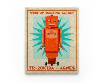 Kid Decor- Agnes Retro Robot Art Series Block- Art for Boys Room- Robot Nursery Art- Robot Nursery Decor Boy- Kid Bedroom