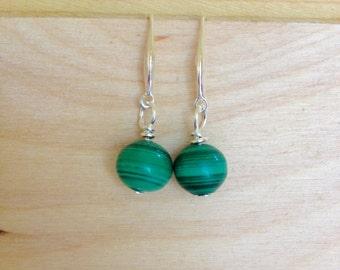 dangle earrings,  natural malachite,