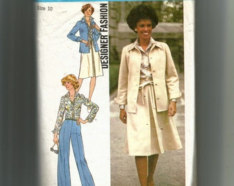 Simplicity Misses' Unlined Shirt-Jacket, Shirt, Skirt and Pants Pattern 7373