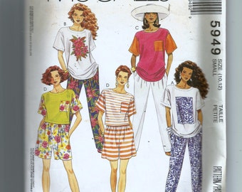 McCall's Misses' T-Shirt In Two Lengths, Pants and Shorts For Stretch Knits Only Pattern 5949