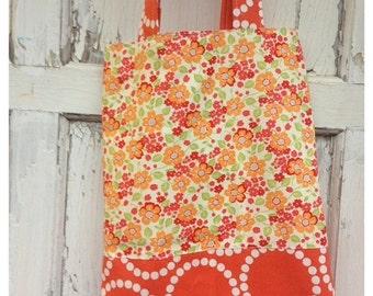 SALE- Orange Floral Tote Bag-Library Bag