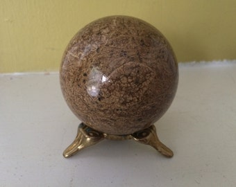 Tiny Egg Sphere Stand / Metal Brass / Ornate / Altar