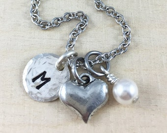 Personalized Heart Charm Necklace, Hand Stamped Initial Necklace, Love Charm Necklace, Personalized Gift