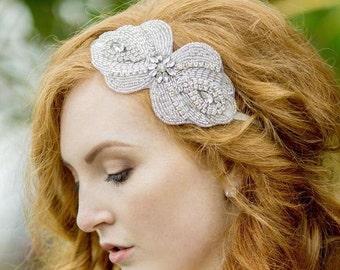 Rhinestone Embellished Applique Headband, MAGGIE