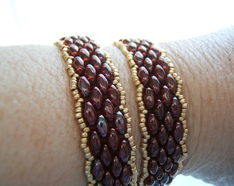 It's a Wrap!  Handmade Beaded Wrap Bracelet - Siam Ruby w/Vega Finish
