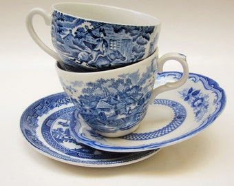 Mismatch Pattern Tea Cups and Saucers, Mad Hatter Tea Party, Wedding Mixed Set of 2 in Blue Floral Willow Country Traditional (#BT28)