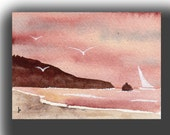 ACEO Pacific NW sunset original painting SFA miniature dollhouse mini beach gulls