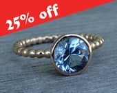 CLEARANCE - Aquamarine with Recycled 14k Rose Gold - Fair Trade Gemstone, Wedding, Engagement, or Right-Hand Ring - Eco-Friendly, size 7.5