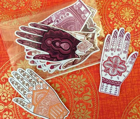 Mehndi Tattoo Stickers : Items similar to henna hand mehndi tattoo stickers seals