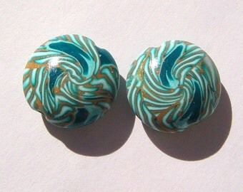 Turquoise Swirl Lentil Handmade Artisan Polymer Clay Beads Pair