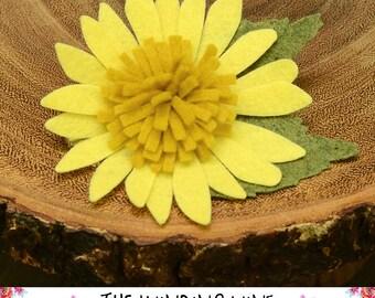 Yellow Felt Flower Gerbera Daisy Hair Clip/Barrette - Felt Hair Accessory for baby, toddler, child, teen, or adult - Custom Elastic