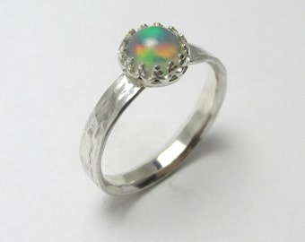 Ethiopian Opal cabochon polished Sterling Silver bark finish ring 0.60cts Size 6 1/2