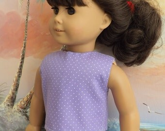 American Girl Doll Clothes Lavender Pin Dot Modified Crop Top NEW Style