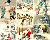 A Snowy Christmas Collage Sheet (printed on fabric, cardstock, or sticker paper)